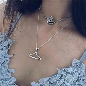 Silver Whale Fish Tail Layer Chain Necklace